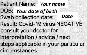 COVID Negative Text Message